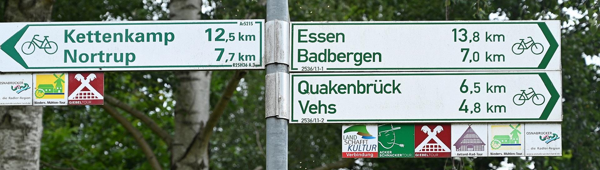 Banner Schilder Radrouten
