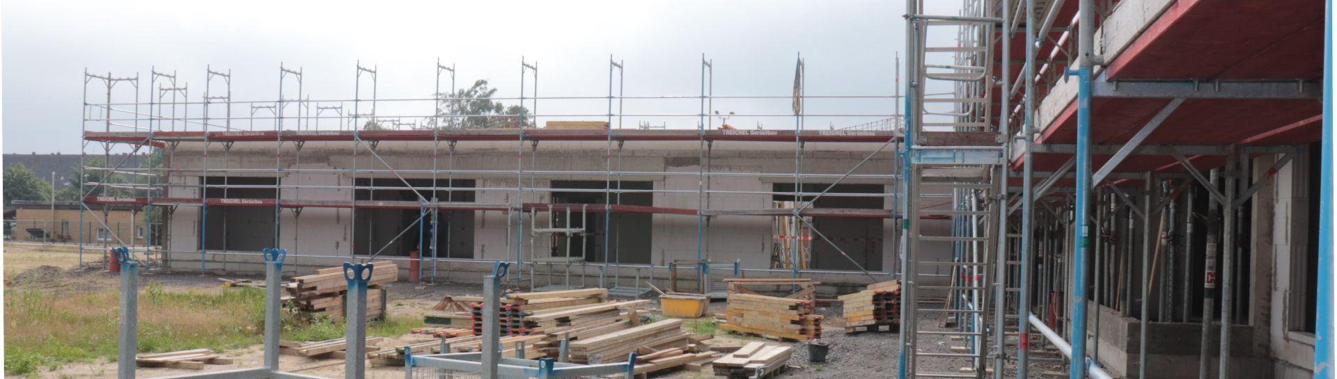 Blick auf die Baustelle der Kita im Europaquartier in Quakenbrueck